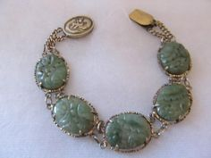 Vintage Antique Chinese Hand Carved Jade Delicate Silver Dragon Clasp Bracelet