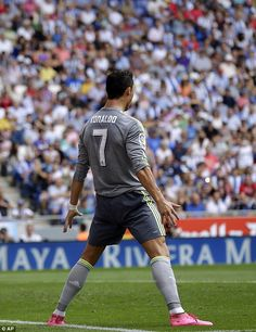 Ronaldo celebrated in characteristic fashion after scoring at the Cornella-El Prat Stadium #halamadrid