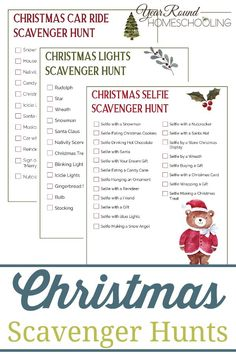 Have fun with your family this holiday season using these free Christmas scavenger hunts to celebrate the Christmas season! Christmas House Lights, Christmas Car, Christmas Games, Christmas Activities, Christmas Printables, Activities For Kids, Christmas Parties, Indoor Activities, Christmas Birthday