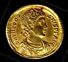 Gold Solidus of Theodosius I (379–95)    Date:      379–395        Made in Constantinople.    He made Christianity the official religion of the empire.