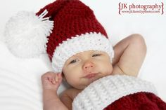 Little Baby Santa Claus HatBurgandy and WhiteBaby by Happyhooks88, $24.95