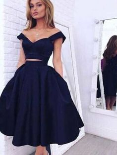 Short homecoming dress,black homecoming dress,simple homecoming dress,off shoulder homecoming dress,two pieces homecoming dress,vintage dressPD2110106
