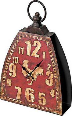 Rooster Cow Bell Shelf Clock