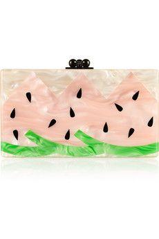 Edie Parker Jean Watermelon pearl-effect box clutch   NET-A-PORTER