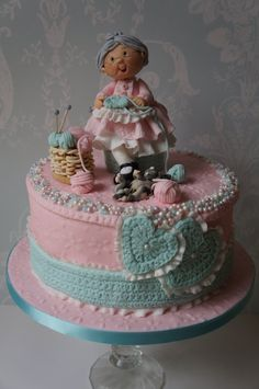 Gorgeous knitting themed cake using our Crochet Border and Crochet Heart Mould