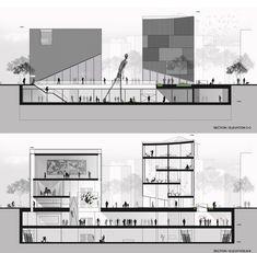 SMF Arquitectos propone un nuevo centro de arte y amplios espacios públicos para el centro de Seúl,Cortes/secciones transversales