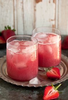 a delectable cocktail with strawberries & coconut water:  This is what you need to make 2 strawberry cocktails:  1 cup (250ml) of fresh coconut water; 1 cup (250 ml) strawberries hulled and sliced; 3 T of sugar syrup or agave nectar; 1 shot (as much as you like) of white rum *optional