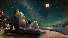"""the-untempered-prism: """" The Doctor and Rose, stargazing on a crystalline beach of a distant world… Commissioned by ☆*・゜゚・*╰( ♥ ヮ ♥ )╯*・゜゚・*☆ """" Doctor Who Funny, Doctor Who 10, Doctor Who Fan Art, Doctor Who Quotes, 10th Doctor, Rose Tumblr, Rose And The Doctor, Rose Tyler, Bad Wolf"""