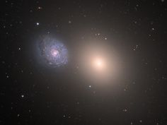Arp 116 : Interacting Galaxies - Barred spiral galaxy NGC 4647 is some 90,000 light-years across and about 63 million light-years away. M 60, a giant elliptical galaxy, is about 120,000 light-years across and roughly 54 million light-years away. Both are part of the Virgo Cluster of Galaxies. Evidence of beginning gravitational interaction was discovered in 2012 - © Adam Block/Mt Lemmon SkyCenter/Univ of Arizona