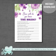 INSTANT DOWNLOAD! How Well Do You Know The Bride - Bridal Shower Game by Joytations on Etsy. Print at home or at a local print shop! Visit my Etsy shop for details.