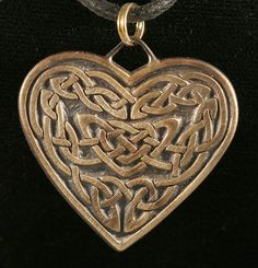 LAST ONE Bronze Knotwork Heart Pendant a Celtic by AFMetalsmith, $27.00