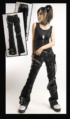 New sexy visual kei PUNK gothic rock removalbe pants skull printing