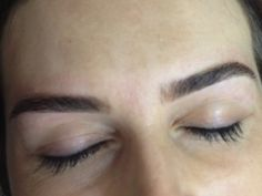 Shaped Eyebrows with a touch of Permanent Tattoo Color creating a barely there shadow in the background @Anastasia Makeup Chicago