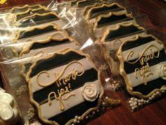 La Tea Dough Cookies:  wedding. Black, white, & gold.