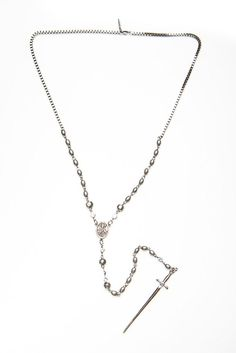 Dolly Silver Rosary Necklace