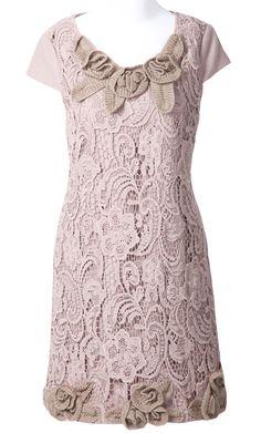 Khaki Short Sleeve Zipper Hollow Embroidery Dress
