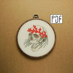 Sea Skull with Coral and Seaweed details Hand Embroidery Pattern (modern hand embroidery pattern) by ALIFERA on Etsy