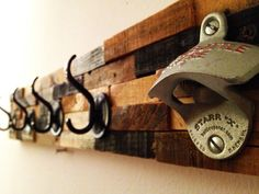 Rustic Coat Rack Bottle Opener: Come on in, hang your coat, and pop a brew. Great Conversation Piece.