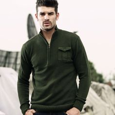 free shipping 2013 autumn military style stand collar bag male casual open-necked sweater military sweater(China (Mainland))