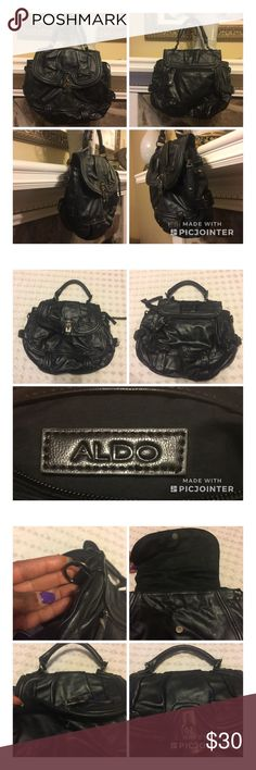 Preowned ***ALDO*** Hobo Handbag 👜 ***ALDO*** Hobo Handbag with Silver buckle and zipper closure. Interior is very clean.Has an interior zipper and 2 wall pockets. For Appx size, please see photos attached here. Pre- Owned with missing shoulder strap. Bag is in great condition. No modeling, no hold, and No trades. Aldo Bags Hobos