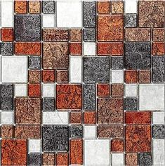 The richly textured bronze, red and orange set against the cooler tones of black and grey guarantee a tile which will bring depth to any kitchen or bathroom surface. Mosaic Tile Sheets, Glass Mosaic Tiles, Mosaic Bathroom, Solid Surface, Home Upgrades, Cool Tones, Big Houses, Bronze, Indian Head