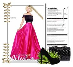 """""""BLACK FUCHSIA SHERRI HILL 51101 TWO PIECE A LINE PROM DRESS"""" by susannelsone ❤ liked on Polyvore featuring Arche, Sherri Hill, Chanel and Nivea"""