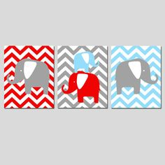Modern Chevron Elephant Trio - Set of Three 8x10 Chevron Zig Zag Prints - Choose Your Colors - Shown in Gray, Red and Baby Blue on Etsy, $55.00