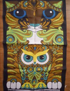 Ulster ~ Tibbles and Woo vintage tea towel. This is so my sister and I.she loves owls and I love cats! Hanging Fabric, Curtain Fabric, How To Dye Fabric, Dyeing Fabric, Owl Always Love You, Tea Towels, Dish Towels, Mc Escher, Vintage Owl
