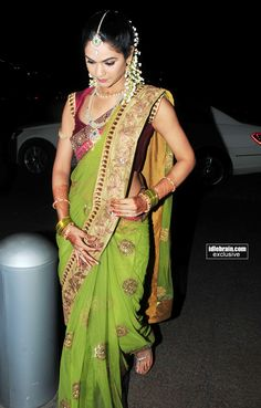 Snehalatha Reddy at her Engagement to South Indian Star Actor Allu Arjun (HAIR) Indian Attire, Indian Wear, Indian Style, Indian Ethnic, Traditional Fashion, Traditional Dresses, Indian Dresses, Indian Outfits, Indian Clothes