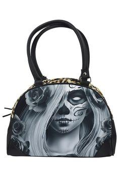 Liquor Brand Love Sugar Skull Lady Tattoo Art Bowling Bag Purse Handbag 1e33bb6342a48