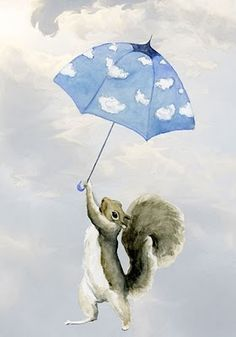Mini Art Print Hold On Mr Squirrel by maggieshurley on Etsy.so cute! Squirrel Art, Cute Squirrel, Squirrels, Flying Squirrel, Umbrella Art, Under My Umbrella, Whimsical Art, Cute Baby Animals, Illustration Art