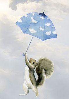 Mini Art Print Hold On Mr Squirrel by maggieshurley on Etsy.so cute! Squirrel Art, Cute Squirrel, Squirrels, Flying Squirrel, Umbrella Art, Chipmunks, Cute Baby Animals, Cute Babies, Illustration Art