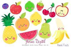 Kawaii Fruits Clipart + Vectors by Avenie Digital on @creativemarket
