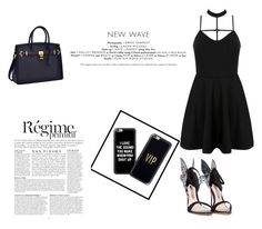 """Black and white!"" by alma-mrkovic11 ❤ liked on Polyvore featuring WithChic, Casetify, Sophia Webster and Anja"