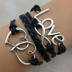 Love bracelet, infinity bracelet, heart to heart bracelet - Bracelets - Maria Susan Bracelet Infinity, Infinity Jewelry, Heart Bracelet, Heart Jewelry, Metal Jewelry, Silver Jewelry, Infinity Heart, Gold Jewellery, Silver Ring