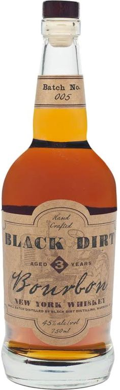 Black Dirt Bourbon Batch #5.  Aged for a minimum of three years, this #bourbon #whiskey is made from Black Dirt corn in upstate New York. | @Caskers