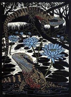 Water dragon,hand coloured linocut by Rachel Newling. Linocut Prints, Art Prints, Water Dragon, Wood Engraving, Aboriginal Art, Australian Artists, Wildlife Art, Woodblock Print, Art Images