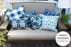 Made for you cushions - Refresh your outdoor furniture with new cushions. Custom Outdoor Cushions, Outdoor Chair Cushions, Bench Cushions, Foam Cushions, Glider Rocker Cushions, Rocking Chair Cushions, Blue Patio, Window Seat Cushions, Box Cushion