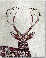 mosaic stag, beautiful browns and magentas | @Angelo Cerantola | Art 5209 | Modern Mural