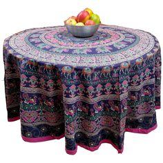 "Handmade 100% Cotton Elephant Mandala Floral 81"" Round Tablecloth Blue Pink Green Orange"
