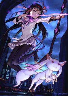 Akemi Homura by yonezawamao Fallen Angel, Modoka Magica, Anime Fantasy, Shoujo, Anime, Magi, Anime Characters, Mahō Shōjo Madoka Magica, Fan Art