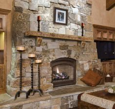 Pearl Mantels Rustic Cast Stone Fireplace Mantel Shelf in Leather Finish - Modern Design Stone Fireplace Designs, Stone Fireplace Mantel, Cabin Fireplace, Rock Fireplaces, Rustic Fireplaces, Bedroom Fireplace, Farmhouse Fireplace, Fireplace Remodel, Fireplace Surrounds