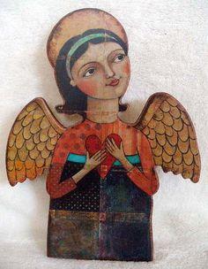 Blossom Bucket Angel Heart Teresa Kogut Primitive Folk Art Home Decor Religious *so pretty!jn
