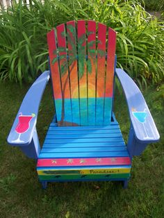 Items similar to Margaritaville Jimmy Buffett Style Hand . Painted Outdoor Furniture, Painted Chairs, Wood Adirondack Chairs, Outdoor Chairs, Outdoor Dining, Outdoor Spaces, Overstuffed Chairs, My Pool, Tropical