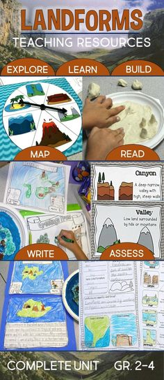 Learning About Landforms: A complete science unit with hands-on projects and literacy centers for teaching and writing about landforms. Includes 21 reference charts, lesson plans, and bulletin board display. For 2nd, 3rd, and 4th grade.
