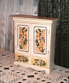 Vintage Cupboard Wood Shabby Chic Old World French County Design Double Doors 2 Drawers Hand Painted