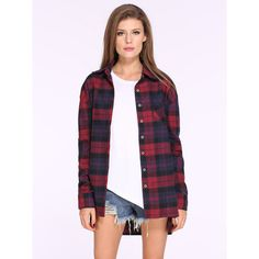 Red Blue Long Sleeve Checks Plaid Loose Blouse ($21) ❤ liked on Polyvore featuring tops, blouses, red top, long sleeve tops, long loose blouse, purple top and red plaid blouse