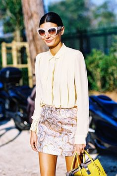 Giovanna Battaglia, before Louis Vuitton, Paris, October 2014.
