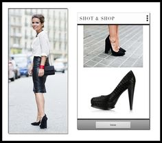 SNS results insipired in the cocodrile platforms shoes from Sara's look of Collage Vintage #shoes #CollageVintage #black #ShotnShop #fashion #app