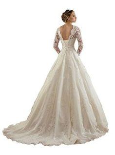 wedding dresses Women's Lace Applique Long Sleeves Chapel Train A Line Wedding Dress (8, white)